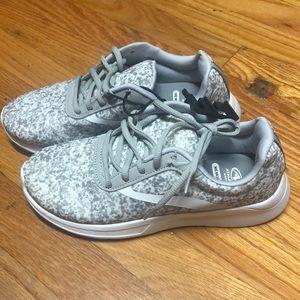 NWT grey white memory foam sneakers size 7 women's